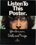 """Music Memorabilia:Posters, John Lennon Walls and Bridges """"Listen To This Poster"""" Limited Promo Poster (Apple, 1974). ..."""