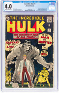 Silver Age (1956-1969):Superhero, The Incredible Hulk #1 (Marvel, 1962) CGC VG 4.0 Off-white to white pages....