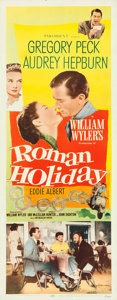"""Movie Posters:Romance, Roman Holiday (Paramount, 1953). Very Fine- on Paper. Insert (14"""" X 36"""").. ..."""