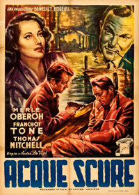 "Dark Waters (Fincine, Late 1940s). Folded, Fine+. First Post-War Release Italian 2 - Fogli (39"" X 55""). Film N..."