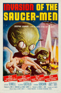 "Movie Posters:Science Fiction, Invasion of the Saucer-Men (American International, 1957). Folded, Very Fine-. One Sheet (27"" X 41""). Albert Kallis Artwork...."