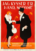 "Movie Posters:Foreign, I Kiss Your Hand, Madame (Europa Film, 1929). Rolled, Very Fine. Swedish One Sheet (27.5"" X 39.5"") Eric Rohman Artwork.. ..."