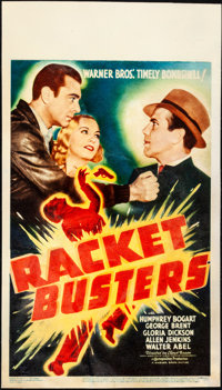 """Racket Busters (Warner Brothers, 1938). Fine on Paper. Linen Finish Midget Window Card (8"""" X 14""""). Crime"""