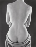 Photographs:Gelatin Silver, Ruth Bernhard (American, 1905-2006). Draped Torso with Hands, 1962. Gelatin silver, printed later. 12-1/4 x 9-1/4 inch...