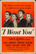 """Movie Posters:Drama, I Want You & Other Lot (RKO, 1951). Folded, Fine/Very Fine. OneSheets (2) (27"""" X 41""""). Drama.. ... (Total: 2 Items)"""