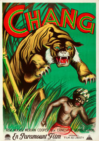 "Chang: A Drama of the Wilderness (Paramount, 1927). Folded, Very Fine+. Swedish One Sheets (2) (27.5"" X 39.5"")..."