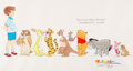 animation art:Model Sheet, Winnie the Pooh Model Sheet Drawing by Ron Campbell (Walt Disney,c. 2000s)....