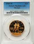 1984-W $10 Olympic Torch Runner Gold Ten Dollar PR68 Deep Cameo PCGS. PCGS Population: (258/8247). NGC Census: (98/5902)...