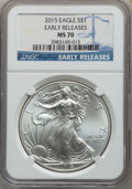 Modern Bullion Coins, 2015 $1 Silver Eagle, Early Releases, MS70 NGC. NGC Census: (0). PCGS Population: (8567). MS70....