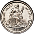 Proof Seated Dimes, 1864 10C PR66 Cameo NGC. CAC....