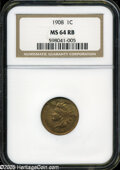 Indian Cents: , 1908 1C MS64 Red and Brown NGC. ...