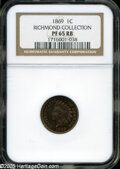 "Proof Indian Cents: , 1869 1C PR 65 Red and Brown NGC. The current Coin Dealer Newsletter (Greysheet) wholesale ""bid"" price is $705.00...."