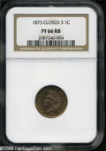 Proof Indian Cents: , 1873 1C Closed 3 PR 66 Red and Brown NGC. ...