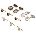 Estate Jewelry:Cufflinks, Mother-of-Pearl, Shell, Cultured Pearl, Enamel, Platinum-Topped Gold, Gold Dress Sets, Larter & Sons. ... (Total: 8 Items)