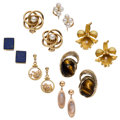 Estate Jewelry:Earrings, Multi-Stone, Cultured Pearl, Glass, Gold, Yellow Metal Earrings . ... (Total: 7 Items)