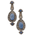 Estate Jewelry:Earrings, Sapphire, Colored Diamond, Diamond, Silver-Topped Gold Earrings. ...