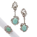 Estate Jewelry:Suites, Diamond, Turquoise, White Gold Suite. ... (Total: 2 Items)