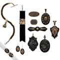 Estate Jewelry:Lots, Victorian Hair, Diamond, Multi-Stone, Seed Pearl, Freshwater Cultured Pearl, Enamel, Gold, Silver, Gold-Filled, Yellow Metal M... (Total: 12 Items)