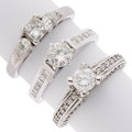 Estate Jewelry:Rings, Diamond, Laser Drilled Diamond, Platinum, White Gold Rings. ... (Total: 3 Items)