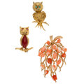 Estate Jewelry:Brooches - Pins, Multi-Stone, Gold Brooches. ... (Total: 3 Items)