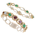 Estate Jewelry:Bracelets, Multi-Stone, Diamond, Gold Bracelets. ... (Total: 2 Items)