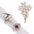 Estate Jewelry:Lots, Diamond, Garnet, Cultured Pearl, White Gold Jewelry . ... (Total: 3 Items)