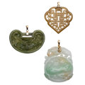 Estate Jewelry:Pendants and Lockets, Jadeite Jade, Nephrite Jade, Gold Pendants. ... (Total: 3 Items)