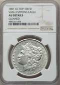 Morgan Dollars, 1891-CC $1 Spitting Eagle, VAM-3, -- Cleaned -- NGC Details. AU. A Top 100 Variety. NGC Census: (54/4024). PCGS Population:...