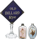 Advertising:Signs, Advertising: Two Saloon Label-Under-Glass Pocket Flasks and a Dillard Rye Backbar Sign.... (Total: 3 Items)