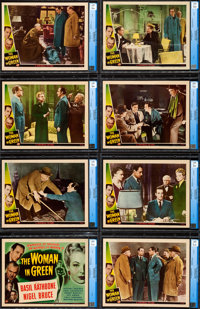 "The Woman in Green (Universal, 1945). Very Fine/Near Mint. CGC Graded Lobby Card Set of 8 (11"" X 14""). ... (To..."