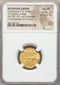Ancients:Byzantine, Ancients: Constantine VI and Irene (AD 780-797), with Leo III, Constantine V, and Leo IV. AV solidus (21mm, 4.40 gm, 6h). NGC Choice XF ...