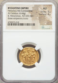 Ancients:Byzantine, Ancients: Heraclius (AD 610-641), with Heraclius Constantine andHeraclonas. AV solidus (21mm, 4.44 gm, 7h). NGC AU 5/5 - 4/5....