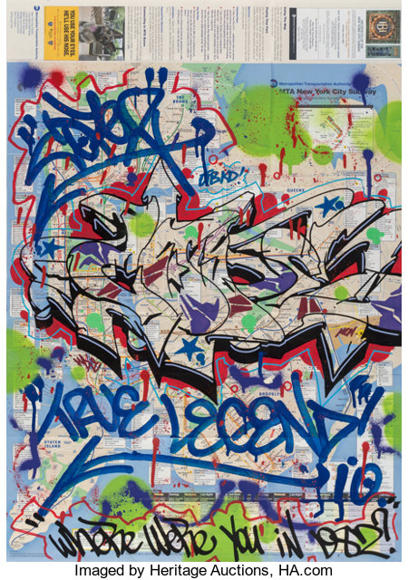 Various Artists NYC Transit Authority Subway Maps (six works), c. 2010 Spray paint with metallic paint, ink and felt-t... (Total: 6 Items)