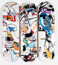 Prints & Multiples:Contemporary, Make Skateboards X Eddie Martinez. Untitled, triptych, 2016. Screenprints in colors on skate decks. 32 x 8 inches (81.3 ... (Total: 3 Items)
