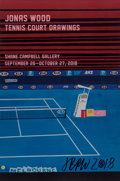 Prints & Multiples:Print, Jonas Wood X Shane Campbell Gallery. Tennis Court Drawings, exhibition poster, 2018. Offset lithograph in colors on smoo...
