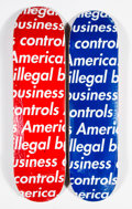 Collectible:Contemporary, Supreme. Illegal Business (Blue and Red) (two works), 2018. Offset lithographs in colors on skate decks. 32 x 8 inches (... (Total: 2 Items)