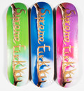 Collectible:Contemporary, Supreme . Fuck You, set of three, 2018. Offset lithographs in colors on skate decks. 32 x 8 inches (81.3 x 20.3 cm) (eac... (Total: 3 Items)