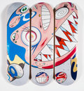 Collectible:Contemporary, Takashi Murakami X ComplexCon. Flying DOB, triptych, 2018. Offset lithographs in colors on skate decks. 32 x 8 inches (8...
