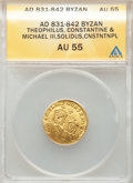 Ancients:Byzantine, Ancients: Theophilus (AD 829-842), with Michael II Armorian andConstantine. AV solidus (22mm, 6h). ANACS AU 55....