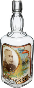 Advertising:Bar Bottles, Admiral George Dewey: Colorful Label-Under-Glass Whiskey Bottle....