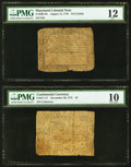 Colonial Notes:Maryland, Continental Currency November 29, 1775 $7 PMG Very Good 10;. Maryland August 14, 1776 $1/2 PMG Fine 12.. ... (Total: 2 notes)