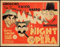 "Movie Posters:Comedy, A Night at the Opera (MGM, 1935). Fine+. Title Lobby Card (11"" X 14""). Al Hirschfeld Artwork.. ..."