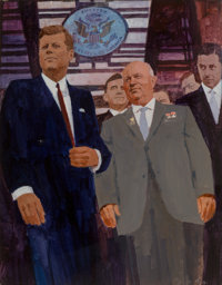 Bernie Fuchs (American, 1932-2009) President Kennedy and General Secretary of the Communist Party of the Soviet