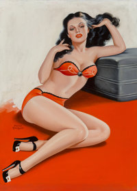 Peter Driben (American, 1902-1968) Pin-Up in Red Lingerie, Eyeful magazine cover, April 1946 Acrylic