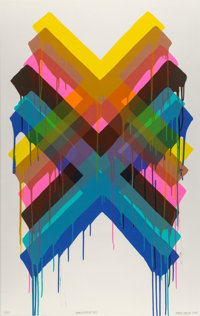 Maya Hayuk (American, b. 1969) Multiverses #2, 2014 Screenprint in colors on paper 44 x 28 inches