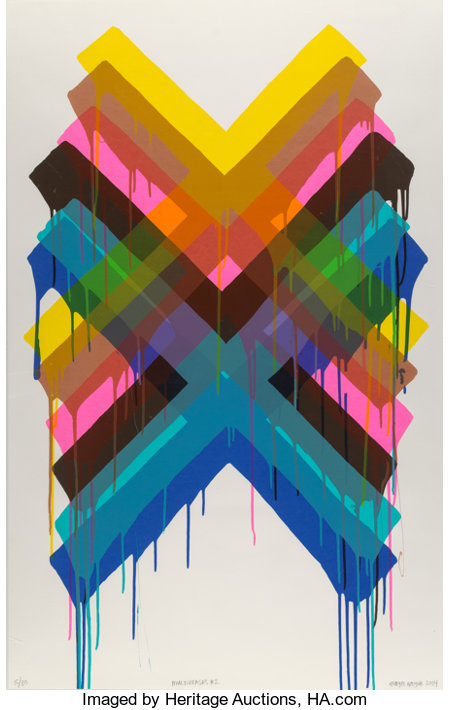 Maya Hayuk (American, b. 1969) Multiverses #2, 2014 Screenprint in colors on paper 44 x 28 inches (111.8 x 71.1 cm) (...