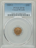 Gold Dollars, 1849-C G$1 Closed Wreath XF40 PCGS. Variety 1....