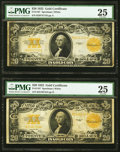 Large Size:Gold Certificates, Fr. 1187 $20 1922 Gold Certificates Two Examples PMG Very Fine 25.. ... (Total: 2 notes)