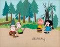 Animation Art:Production Cel, Peanuts - It Was a Short Summer, Charlie Brown ProductionCel Setup and Master Painted Background (Bill Melendez, ...