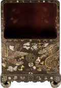 Furniture, A Korean Inlaid Lacquer and Shagreen Covered Phoenix and Dragon Cabinet, Yi Dynasty, 19th century. 37-1/2 x 24-1/2 x 16 inch...
